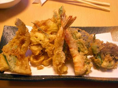 天ぷら定食の天ぷら盛り合わせ