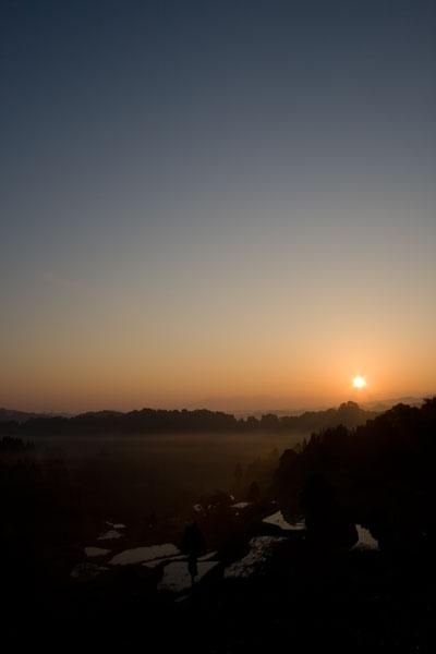 朝日輝く棚田