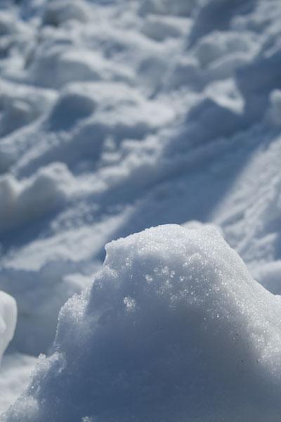 日に当たる雪