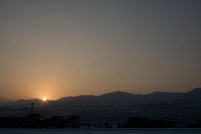 貴重な冬の夕日