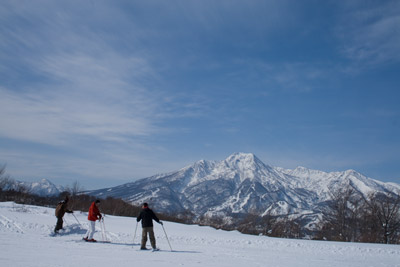 スキーヤーも一息