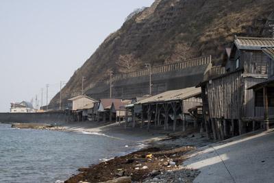 筒石漁港の船着き場?