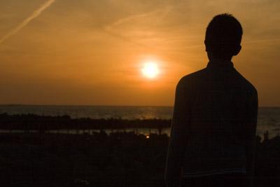 お帰りなさい日本海に沈む夕日