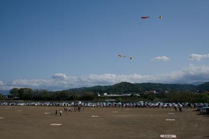 風船凧をあげて風の強さを計測