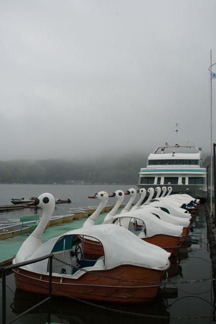 遊覧船とアヒル?の足こぎボート