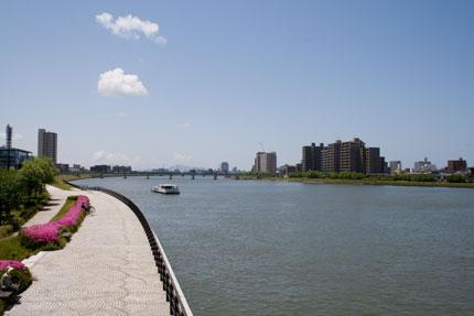 万代橋からの信濃川の景色