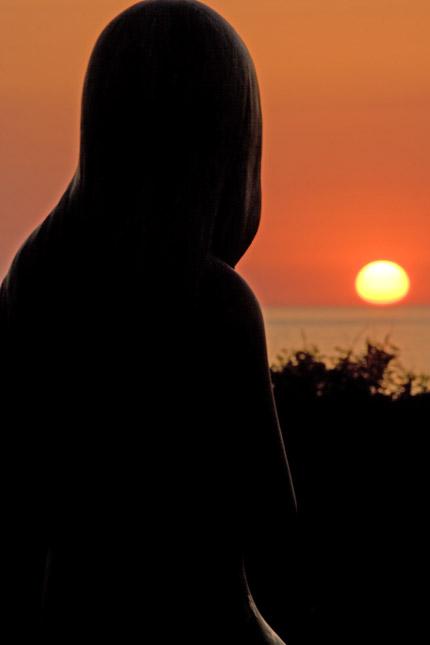 私と一緒に夕日を眺めていました
