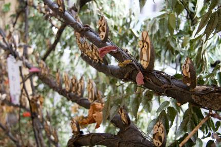 木で作ったフクロウ?
