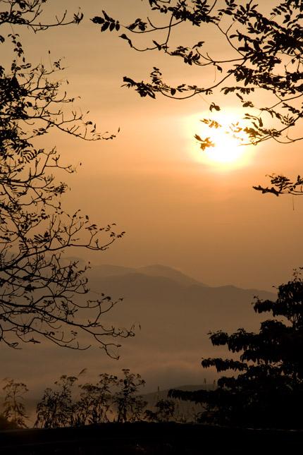 山道から見える朝日