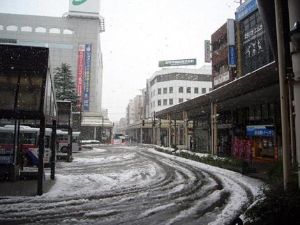 長岡市は、昼間も雪が降り続いていました