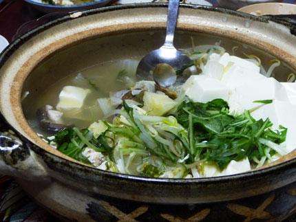 野菜沢山の湯豆腐