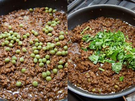 グリーンピースを入れて香菜(今回は、三葉で代用)を入れて、混ぜ合わせます