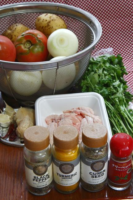 ジャガイモの胡麻カレー:材料