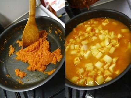 焦げないように15分くらい強火で炒める馬鈴薯が軟らかくなるまで煮る
