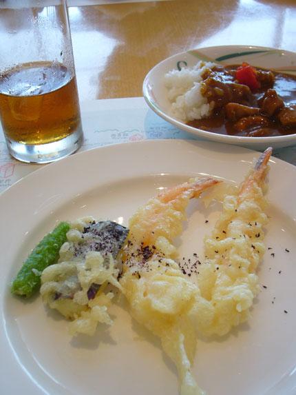 三皿目は、小盛りカレーに揚げ立て天ぷら少々