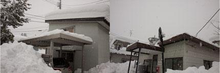 下ろした雪が屋根まで届いてしまいました