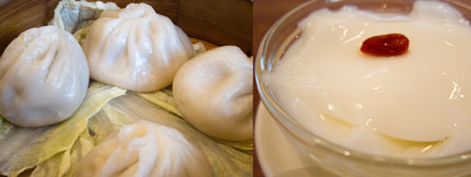 小籠包とデザートの杏仁豆腐