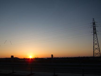 綺麗に夕日
