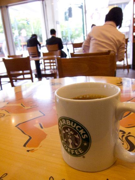 コーヒーショップで一休み