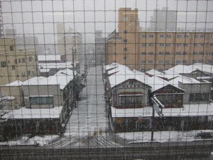雪降り仕切る中