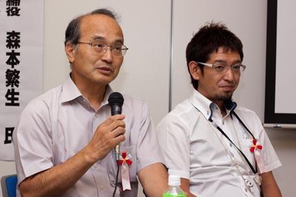 左から昭和産業株の岩下さんと(株)西村金属の西村さん