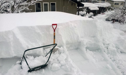 スコップが埋まるくらいの雪