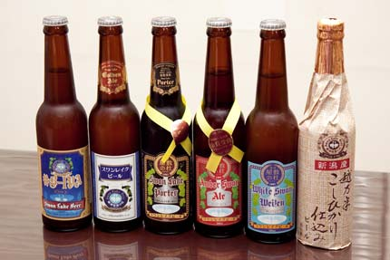 季節限定ビール 『#B-IPA』、ゴールデンエール、ポーター、アンバースワンエール、ホワイトスワンヴァイツエン、最後が越乃米こしひかり仕込みビール