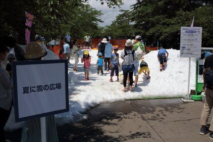 夏に雪の広場