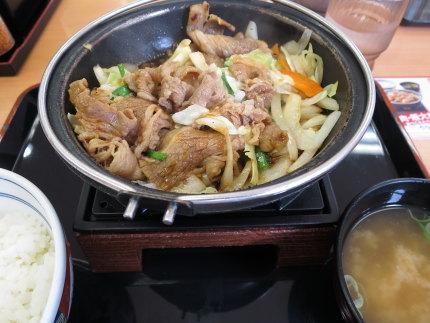 牛バラ野菜焼き定食490円