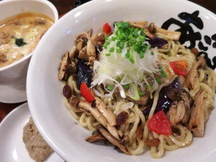 秋野菜と貝のつけ麺990円