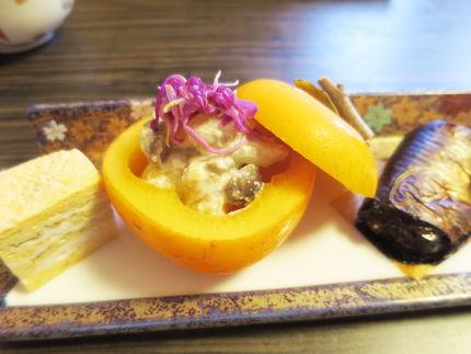 卵焼き、柿の和え物、ニシン
