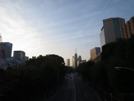 夕日に輝く東京の景色