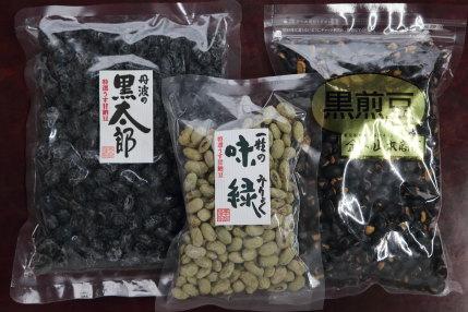 丹波の黒太郎1512円(税込)一粒の味緑648円(税込)黒煎豆670円(税込)