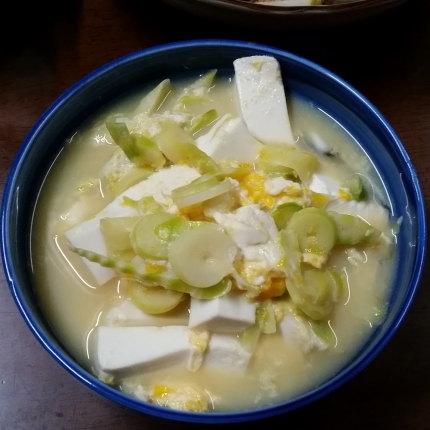 根曲がり竹(姫竹)と豆腐の味噌汁