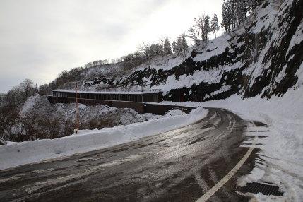 道路上は、雪が消えていました