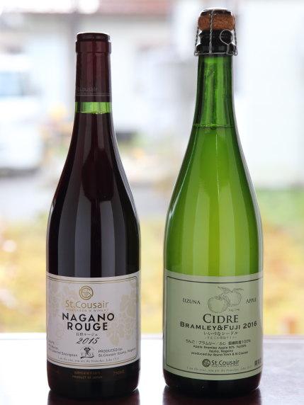 赤ワインNAGANO ROUGE 2015 3200円(税別)、シールドCIDRE BRAMLE&FUJI 2016 1800円(税別)
