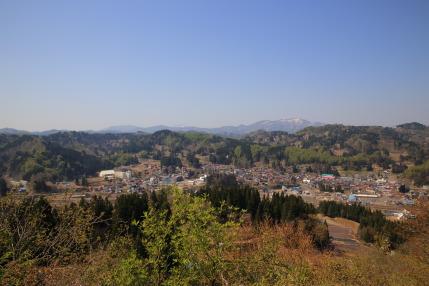 松代の町と山々