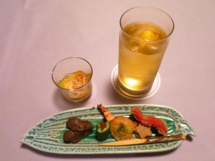 七夕のおつまみ五点盛り素麺付