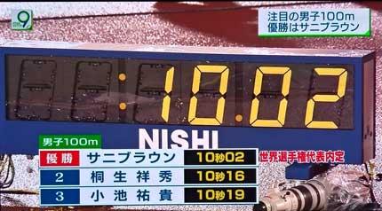 大会新記録の10.02秒