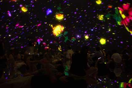 下が鏡で上の丸い空間に花や光が投影