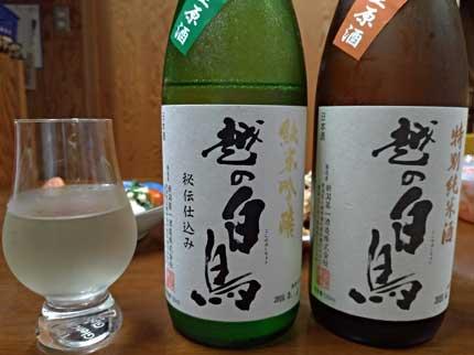 越の白鳥8号特別純米酒と飲み比べ