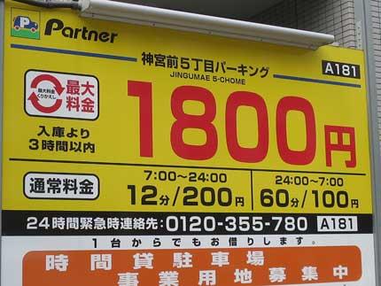 東京山手線内は、駐車場料金が高い