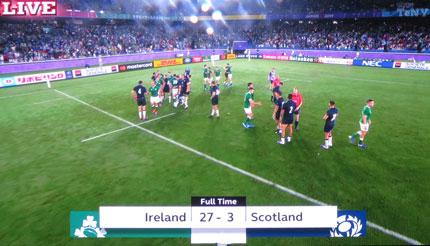 27対3でアイルランドの勝利
