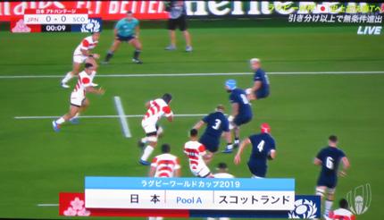 ラグビーWorld Cup 日本対スコットランド戦