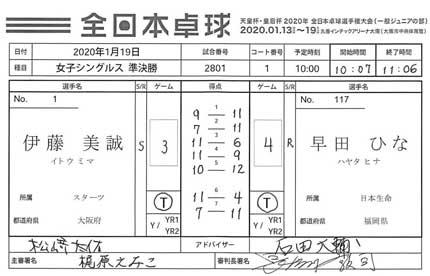 早田ひな選手が勝利