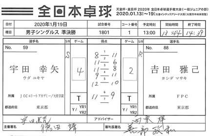 男子準決勝宇田幸矢選手対吉田(よしの上の字は土)雅己選手
