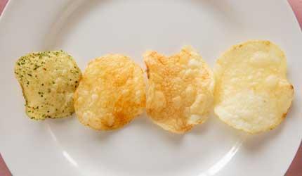 左から、神のり塩、感激うす塩味、衝撃のコンソメ、芋まるごと