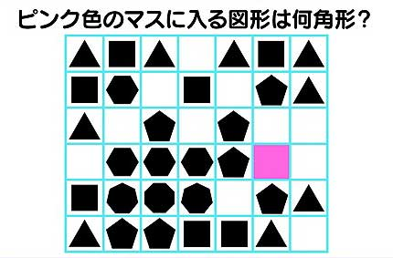ピンク色のマスに入る図形は何角形?
