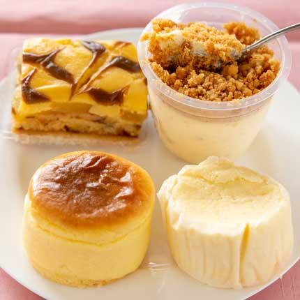 左上アップルケーキ、右上プレミアチーズ、左下ニューヨークチーズケーキ、右下新潟ふわとろチーズ