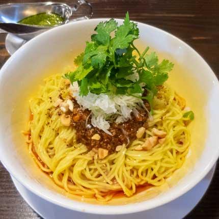 冷やし担担麺ぴりから青唐辛子と香味野菜のペースト添え1150円税込